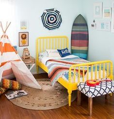 Boy bedroom ideas - Looking for boys bedroom ideas? See more the cool And Awesome boys bedroom ideas to match your style. Browse through images of boys bedroom ideas decor and colours for inspiration. Surf Bedroom, Kids Bedroom, Kids Rooms, Baby Rooms, Bedroom Themes, Bedroom Decor, Bedroom Ideas, Surf Theme Bedrooms, Bedroom Inspo