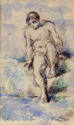 paulcezanne-art:Bather Entering the Water, 1885Paul Cezanne