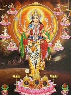 I <3 Goddess Durga, Ma Durga is the embodiment of the divine energy and the creative power. Mother Durga has nine forms/dimensions. Navratra (The nine holy nights) is dedicated to the worship of Her.