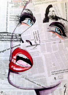 News Girl  Acrylic and mixed media on canvas