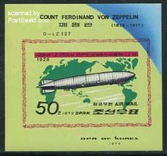 Zeppelin s/s, imperforated, Country: Korea, North, Year: 1979, Product code: sknpb055b, Nr. Michel: B55B