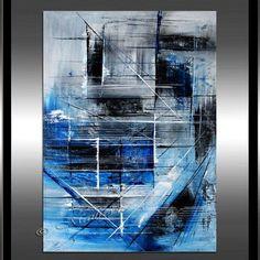 Bleu peinture abstraite 52 classique moderne bleu par largeartwork