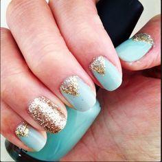 seafoam gelish with champagne glitter triangles