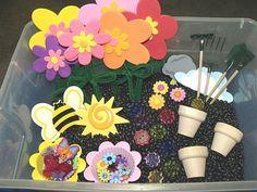Garden sensory tub.  garden sensory bin