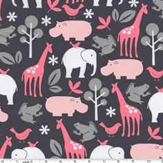 you can find this right now at flannelqueen.com  Zoology Pink Gray Flannel-michael miller flannel fabric zoo zoology giraffe hippo elephant pink Gray #FX4061