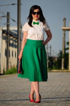 green skirt & red shoes