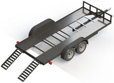 DIY Car Trailer Plans Thorough Steel Deck Car Hauler Plans show you how to build yourself and! USE … Car Trailer Plans Read Trailer Dolly, Free Trailer, Trailer Plans, Trailer Build, Semi Trailer, Car Hauler Trailer, Atv Trailers, Custom Trailers, Trailer Wiring Diagram