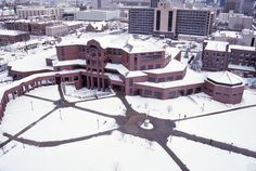 Throwback Thursday: Snow blankets Marquette University's Alumni Memorial Union in January Photo courtesy of University Archives. Marquette University, Throwback Thursday, Blankets, January, Snow, Outdoor, Outdoors, Blanket, Outdoor Games