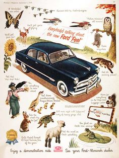 1949 Cdn. Ford Custom Sedan vintage ad. Everybody's talking about the new Ford Feel. Features the famous 100 hp. Ford V8 engine. Enjoy a demonstration ride. See your Ford Monarch dealer.