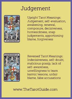 Tarot Flashcards - Judgement Upright and Reversed Meanings… Reiki Frases, Tarot Cards Major Arcana, Tarot Cards For Beginners, Wiccan Spell Book, Tarot Card Spreads, Online Tarot, Tarot Card Meanings, Tarot Readers