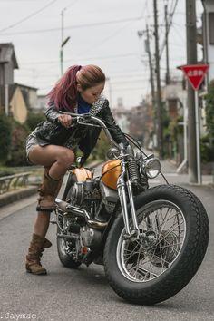Shizuka on her 66 Shovelhead. Nagoya, Japan.
