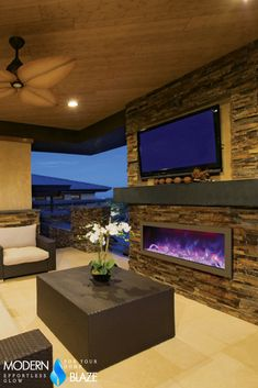 Amazing outdoor-rated electric fireplace for your patio!