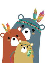 Tribal family of colored bears Felt Animals, Cute Animals, Scrapbooking Image, Baby Posters, Kawaii Doodles, Autumn Painting, Bear Art, Woodland Creatures, Watercolor Animals
