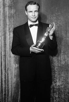Marlon Brando and his Oscar for On the Waterfront