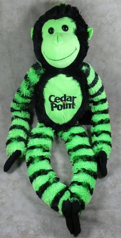 "Cedar Point 30"" Plush Green & Black Monkey Amusement Park Stuffed Fiesta Toy #Fiesta"