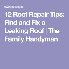 12 Roof Repair Tips: Find and Fix a Leaking Roof | The Family Handyman