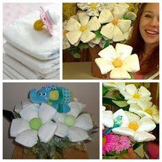 Make a gorgeous bouquet with diaper flowers!   Video tutorial--> http://wonderfuldiy.com/wonderful-diy-beautiful-diaper-flower-bouquet/