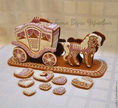 Купить Пряничная карета принцессы - розовый, расписные пряники, пряник, имбирное печенье, имбирные пряники