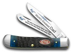 CASE XX Jigged Blue Bone World's Greatest Dad 1/600 Trapper Pocket Knife Knives -- Continue to the product at the image link.