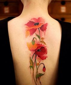 Colorful Flower Back Tattoo Ideas For Girls