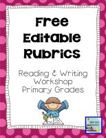 Free Editable Primary Rubrics for Reading, Writing, and Work Ethic