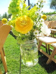 Pretty mason jar bouquet with Belles of Ireland.....(would be great for outdoor wedding Courtney).
