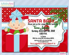 Winter Baby Shower Invitations 307 Santa Baby  by LullabyLoo, $18.00