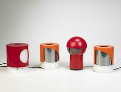 JOE COLOMBO  lamps, set of four  Kartell Italy , 1960s plastic 5.25 dia x 6 h inches  Estimate: $700–900 Result: $720