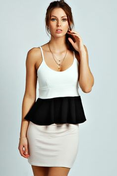 Kelly Strappy Contrast Panel Peplum Top at boohoo.com