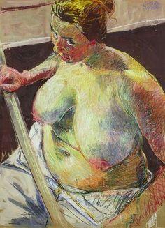 Johannes Grützke - HALBAKT, 1986, Coloured chalk...