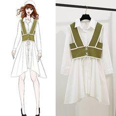 Fashion Drawing Dresses, Fashion Illustration Dresses, Fashion Sketches, Fashion Dresses, Korean Girl Fashion, Ulzzang Fashion, Beautiful Long Dresses, Elegant Dresses, Kpop Outfits