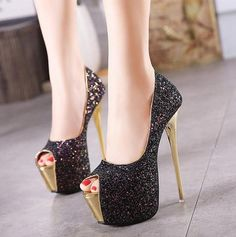 d94cc1f85e6a Sequins Platform Women Fashion Peep Toe High Heels Shoes