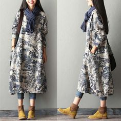 New Print Cotton Linen Dress Robe