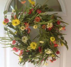 front door wreaths for summer Summer Door Wreaths, Wreaths For Front Door, Different Seasons, Razzle Dazzle, Floral Wreath, Rainbow, Doors, Holiday, Plants
