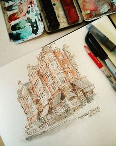 Great #watercolor #illustration by @schmoedraws of the Mayfair area of London. Without the people and typical hustle we can just appreciate the cool architecture... and @schoedraws' painting and drawing skills and nice bit of handlettering in the bottom right corner. (Just wanted to be sure to note that @schoedraws indicated that the reference for this painting was a photograph posted by @prettylittlelondon who in turn mentioned that the the original photo was taken by @carinalifestyle.)…
