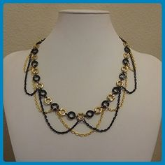 Gold and Black Circle with Cascading Swoops Chain Necklace - Wedding nacklaces (*Amazon Partner-Link)