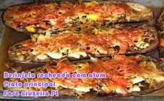 Receita de berinjela recheada com atum para o prato principal, da fase cruzeiro dukan.