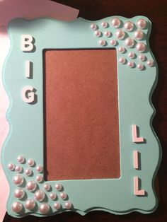 big and lil picture frame tiffany blue with pearls sorority gamma phi beta biglittle ideas more