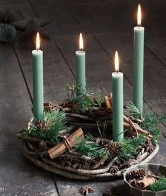 Green Candles & Pine Cones Winter Display ....
