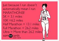 Just because I run doesn't automatically mean I run MARATHONS!! 5K = 3.1 miles 10K =6.2 miles Half Marathon = 13.1 miles Full Marathon = 26.2 miles Ultra = More than 26.2 miles.