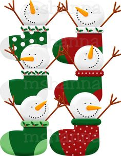 CHRISTMAS SNOWMEN IN STOCKINGS CLIP ART