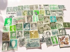 50 Green Postage Stamps – a Worldwide mix of vintage stamps. In this lot you will find 50 beautiful used stamps in different shades of Green. The stamps are from many different countries around the World. Germany, France, Netherlands, Denmark and many more. The stamps are perfect for Paper Crafts #Crafts #stamps #stampcollecting #green