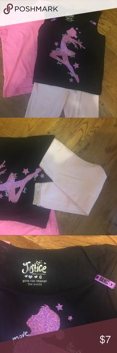 Justice girls - Never worn! Set! Girls size 6 2 tops (one Justice and one Faded Glory) and 1 leggings (Children's Place). Never worn. All size 6 Justice Matching Sets