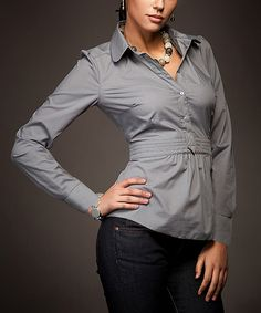 Another great find on #zulily! NIFE Pearl Gray Button-Front Top by NIFE #zulilyfinds