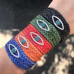 Woven Leather Bracelet with Silver Evil Eye Charm. Black, Orange, Blue, Yellow, Green & Red