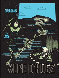 The Alpe d'Huez is famed, not because of its size or natural majesty, but because it has been a key battleground for so many Tour winners including Bicycle Store, Bicycle Art, Online Bike Shop, Alpe D Huez, Bike Poster, Touring Bike, Cycling Art, Shopping World, My Buddy