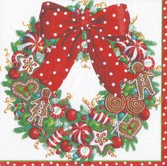 Candy Cane Paper Napkins in a Stocking Stripe Design by