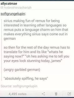 "lol Headcannon accepted!!! Remus puts a language charm on Sirius ""absolutely spiffing he says"""