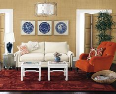 Colonial Living Room with Orange and Beige Sofas: Colonial Living Room with Orange and Beige Sofas