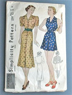 Vintage 1930s sewing pattern Simplicity 2297  Women's by Fancywork, $42.00